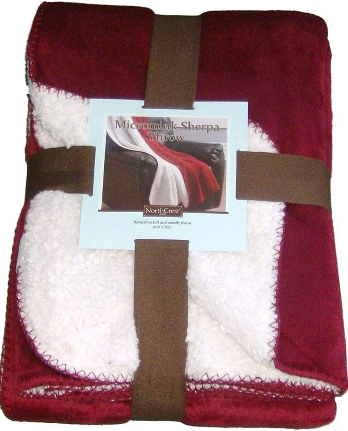 NorthCrest Home Sherpa Micromink Rich Red Oversized Soft Throw Blanket