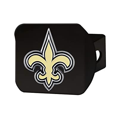 "FANMATS NFL New Orleans Saints Metal Hitch Cover, Black, 2"" Square Type III Hitch Cover: Automotive"