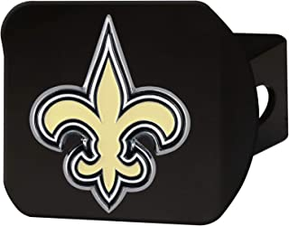 """product image for FANMATS 22589 NFL New Orleans Saints Metal Hitch Cover, Black, 2"""" Square Type III Hitch Cover,Gold"""