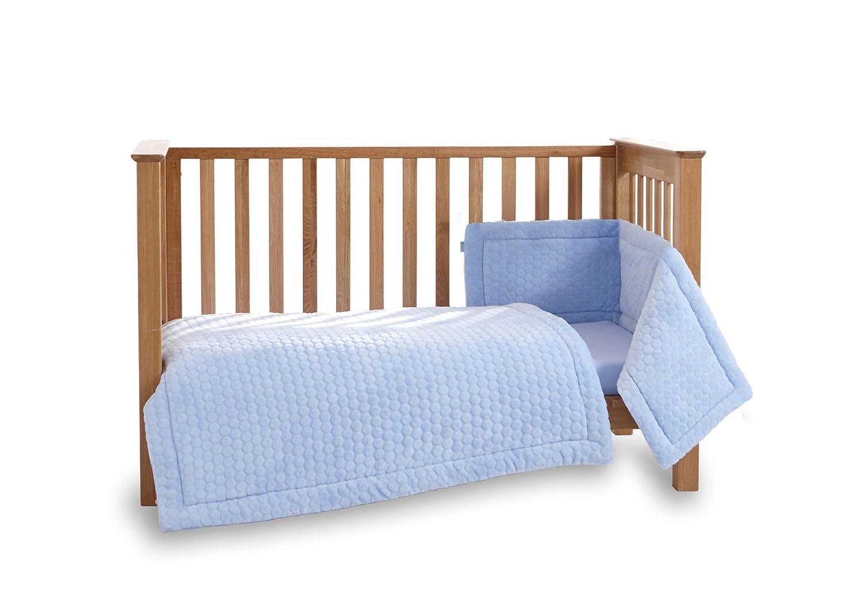 Clair de Lune Marshmallow 3 Piece Cot/Cot Bed Quilt & Bumper Bedding Set - Blue CL5174BE