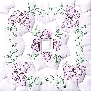 "Jack Dempsey Needle Art Stamped White Quilt Blocks 18""X18"" 6/Pkg-Interlocking Circle of Butterflies"