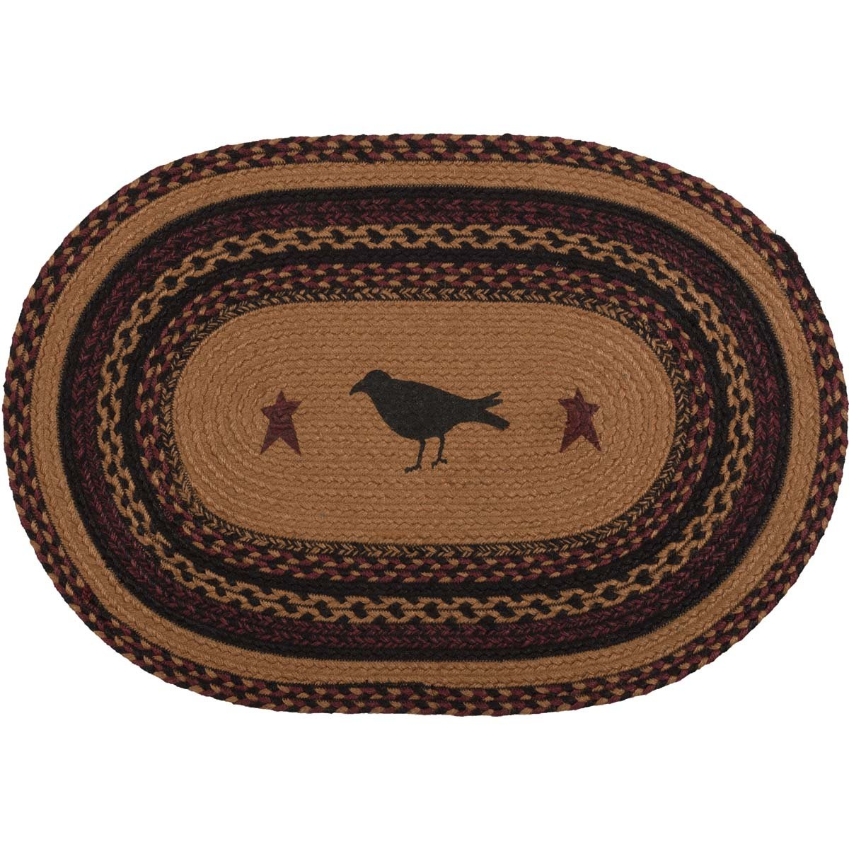 VHC Brands 37901 Primitive Flooring-Heritage Farms Tan Crow Oval Jute Rug, 1'8' x 2'6', Mustard Yellow 1'8 x 2'6