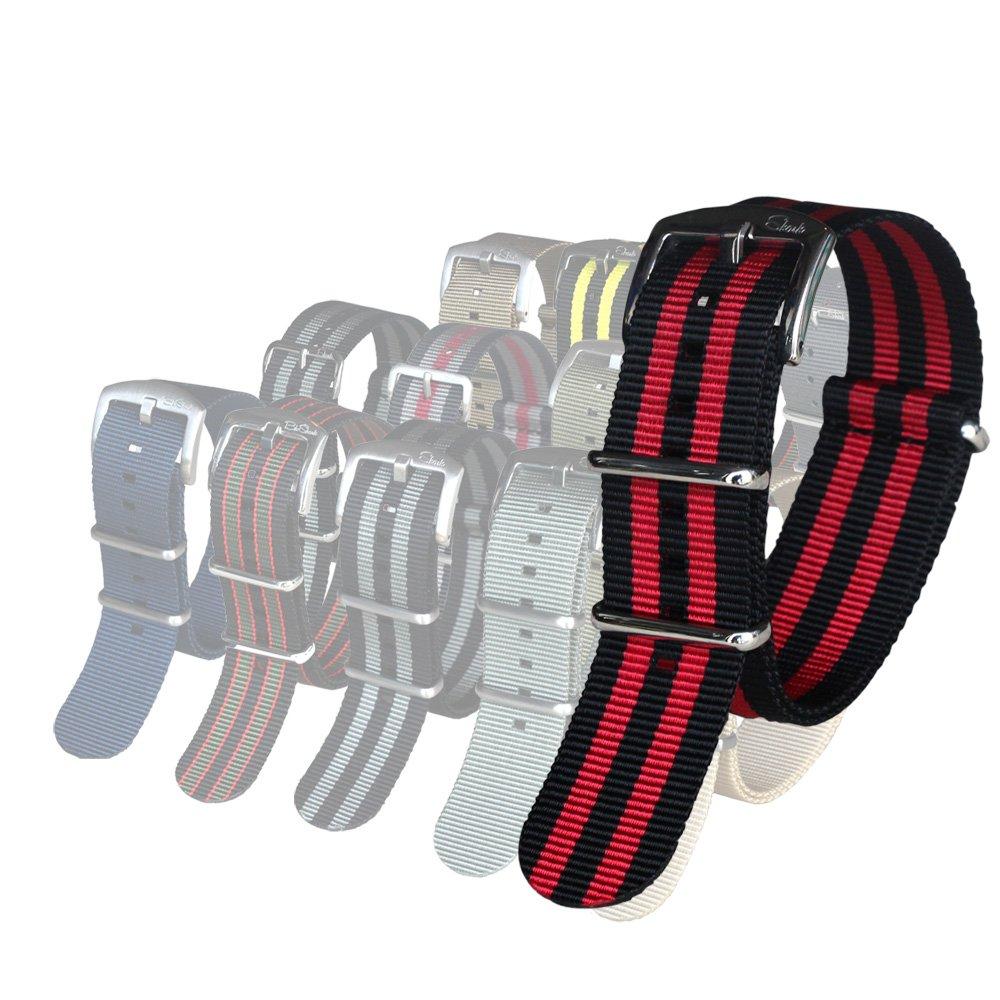 BluShark オリジナルプレミアムナイロン腕時計バンド 複数のサイズとスタイル 22mm Black/Red (premium buckle) 22mm|Black/Red (premium buckle) Black/Red (premium buckle) 22mm B01KMWB8V0