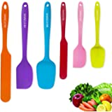Silicone Spatula - 6 Spatulas Silicone Heat Resistant - Mini Rubber Spatula Set - Cooking Spatulas for Nonstick Cookware - Colorful Baking Kitchen Spatula Set - One Piece Design Spoon & Spatulas- Multicolor
