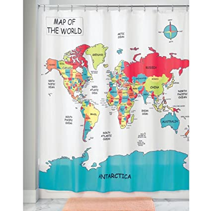 Amazon Com Interdesign World Map Fabric Polyester Shower Curtain