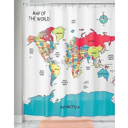 Amazon Com Interdesign World Map Fabric Polyester Shower Curtain