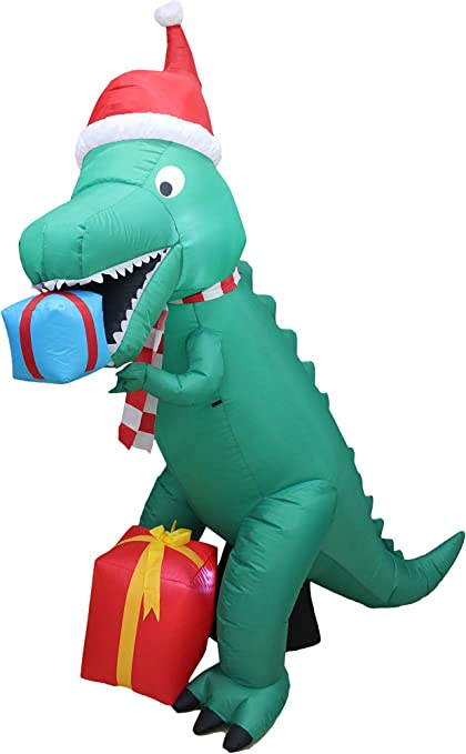 7 Ft T-REX DINOSAUR EATING PRESENTS Christmas Airblown Lighted Yard Inflatable