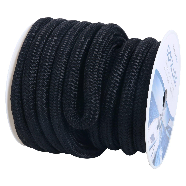 "Black 3//4/"" 25 FT Double Braid Nylon Dock Line Mooring Rope Double Braided"