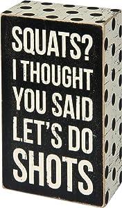 Primitives by Kathy Polka Dot Trimmed Box Sign, 3 x 5, Squats Shots