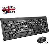 Wireless Keyboard Mouse Set,【Stylish Design】Patuoxun 2.4G Cordless Combo for Computer PC Windows,UK Layout