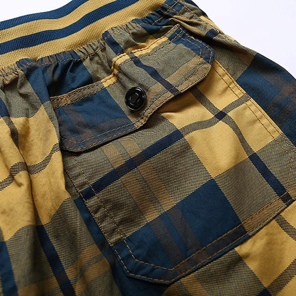 Forthery Men Beach Shorts Summer Casual Lattice Cotton Elasticated Waist Loose Sport Pants