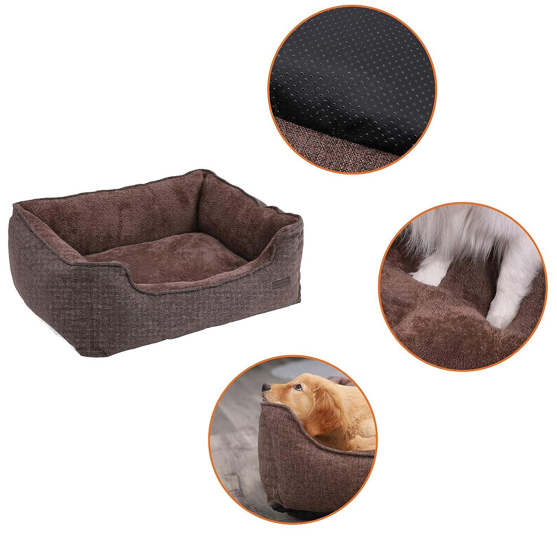 Cuccia per Cane coccolone FEANDREA M L XXL Letto per Cane Lavabile Marrone 90 x 75 x 25 cm PGW11CC