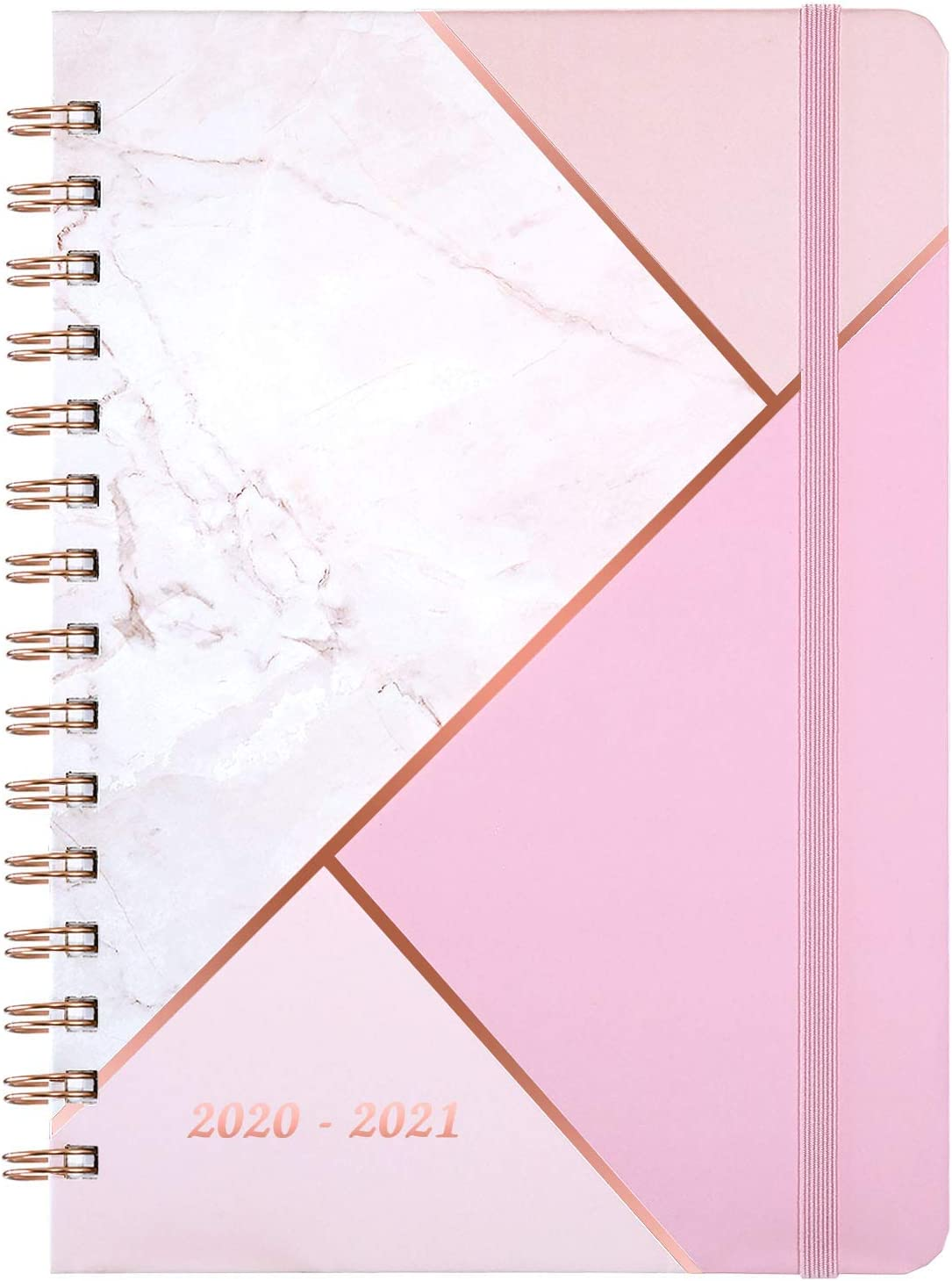 """2020-2021 Planner - Academic Weekly & Monthly Planner with Tabs, 6.3"""" x 8.4"""", July 2020 - June 2021, Hardcover with Back Pocket + Thick Paper + Banded, Twin-Wire Binding - Pink Marble"""