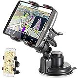 TecHERE EasyClaw Plus - Soporte Universal de coche con ventosa para teléfonos móviles / smartphone compatible con el iPhone 6s 6 6plus 5s 5c 5 4s, Samsung Galaxy S7 S6 S5 S4 S3 Note, Nexus, Lumia, Sony Xperia, LG, HTC, Huawei, Asus, Motorola, GPS y otros dispositivos de hasta 9 cm de ancho - Ajustable con una rotación de 360º - Negro