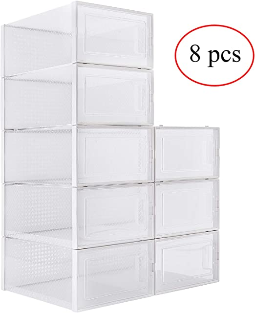 NEW PLASTIC STORAGE BINS 8 Pack Stackable Oraganizer Box Containers With Hangers