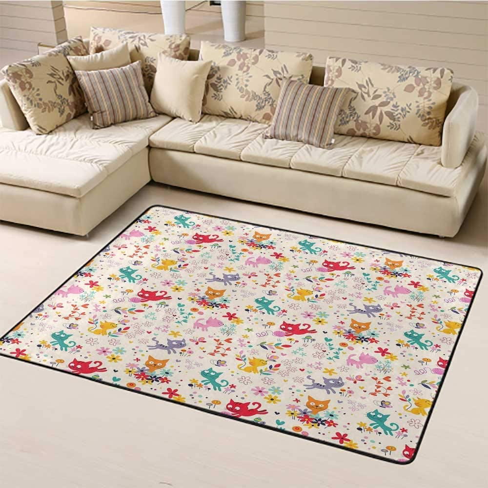 "Indoor Modern Area Rugs Kitten Printing Rug Pads Playful Happy Kittens Chasing Butterflies and Wool Balls Among Colorful Flowers Home Room Bathroom Bathtub Doormats Area Rug Multicolor (4'7""x6'6"")"