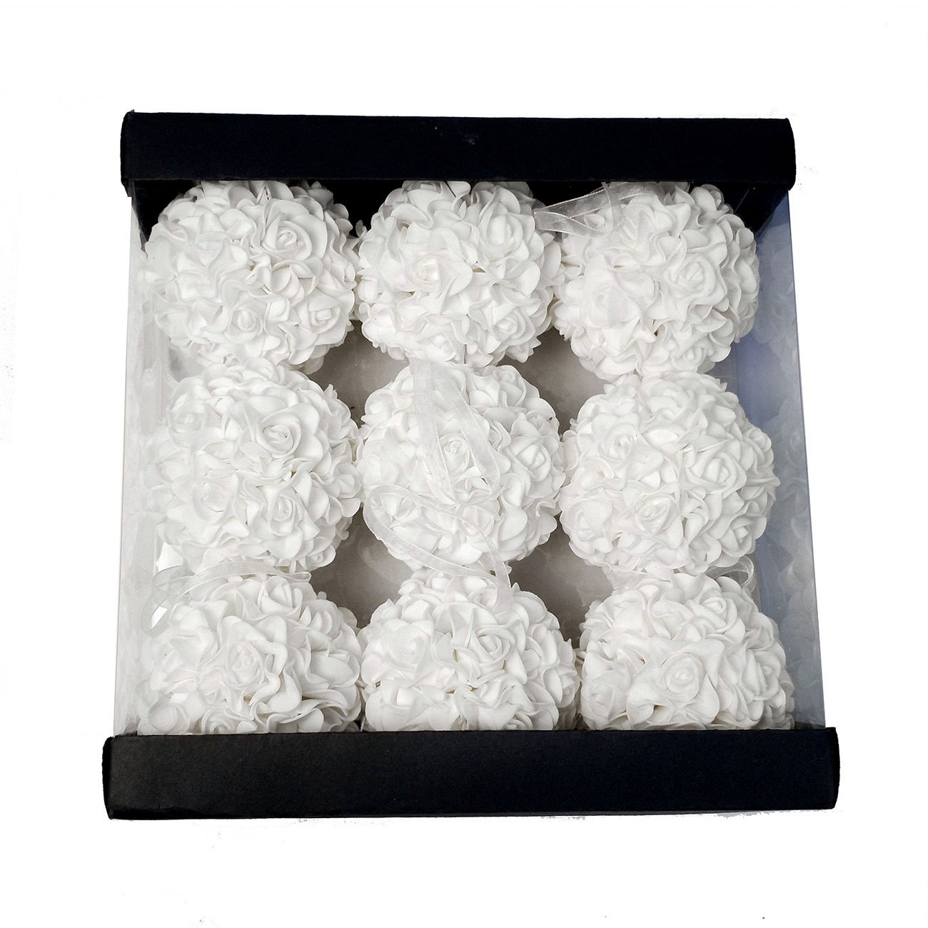 9pcs 3.5 Artificial Rose Satin Flower Foam Balls for Bridal Wedding Centerpiece Party Ceremony Decoration White WMAOT