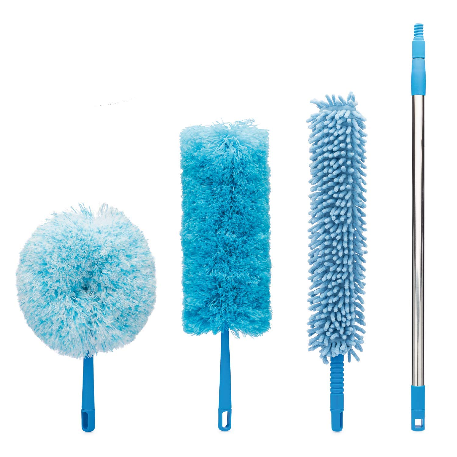 4pcs Best Microfiber Duster with Extension Pole | Large Fluffy Microfiber Cobweb Duster, Extra Large Microfiber Feather Duster, Flexible Microfiber Ceiling & Fan Duster | 4-Foot Telescopic Pole by SKA HomeStore