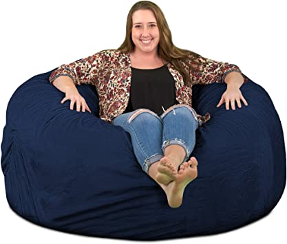 ULTIMATE SACK Bean Bag Chairs in Multiple Sizes and Colors: Giant Foam-Filled Furniture Durable Inner Liner. Double Stitched Seams Machine Washable Covers 4000, Grey Suede