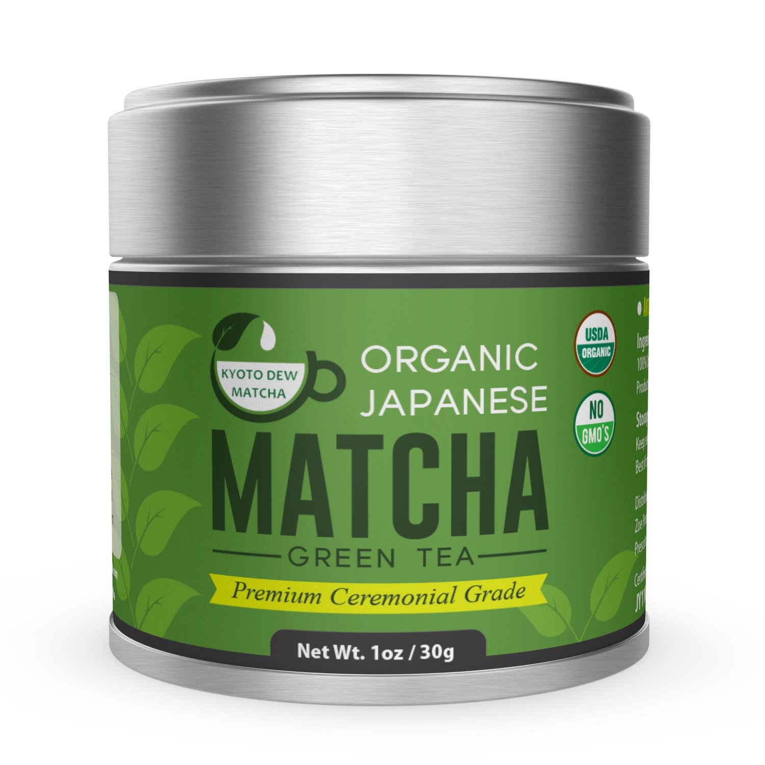 Kyoto Dew Matcha - Organic Premium Ceremonial Grade from Japan Matcha Green Tea Power - Radiation Free, Non Fillers, Zero Sugar - USDA & JAS Certified Organic 30g (1oz) Tin by Kyoto Dew Matcha