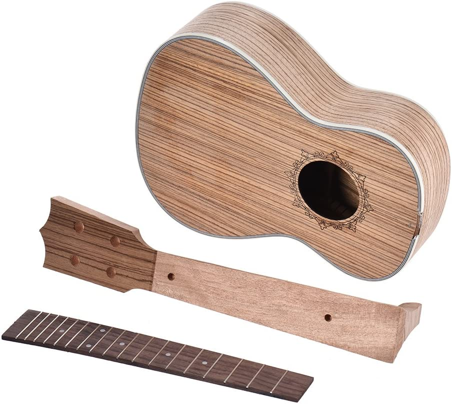 Festnight 26in Tenor Ukelele Ukulele Hawaii Guitar DIY Kit Rosewood Fingerboard with Pegs String Bridge Nut