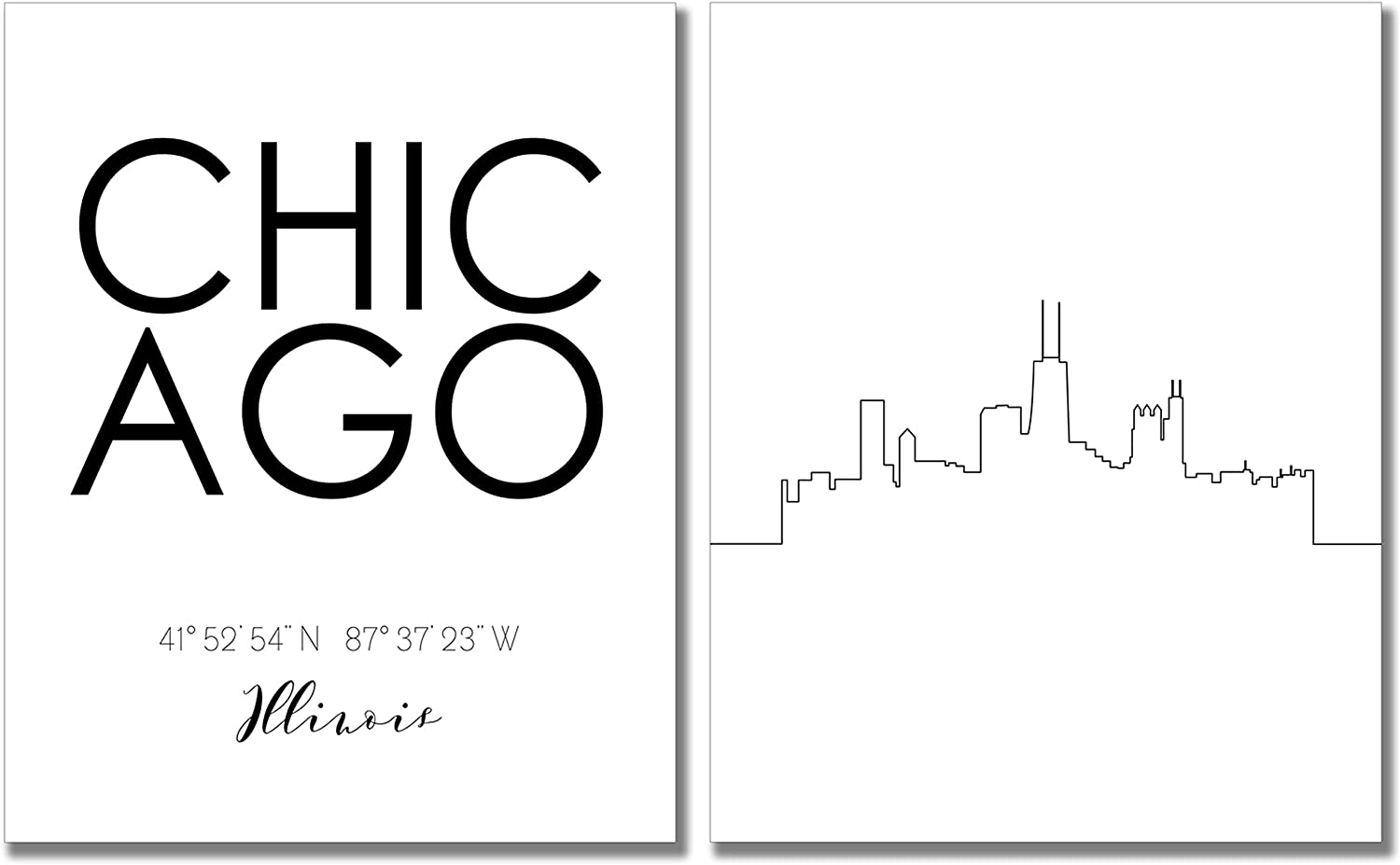 Chicago City Skyline Wall Décor Prints - Set of 2 (8x10) Art Photos - Typography Minimalist Poster