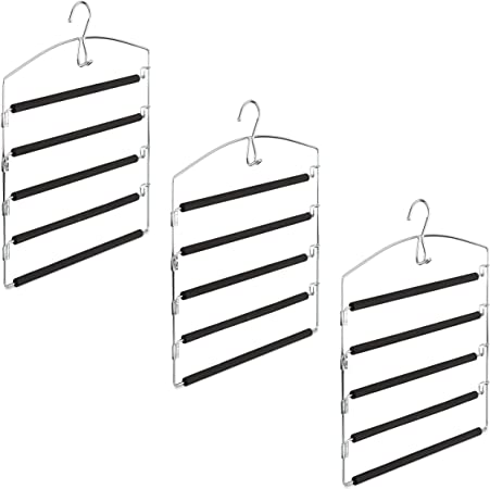 HLP Relaxdays Grucce per Pantaloni salvaspazio Appendiabiti Multiplo Imbottito in Metallo 44,5x37x2,7 cm Argento//Nero