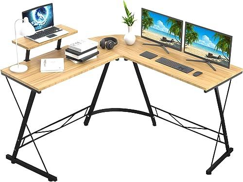 Aneken Oak L Shaped Computer Desk 51 Modern Home Office Desk