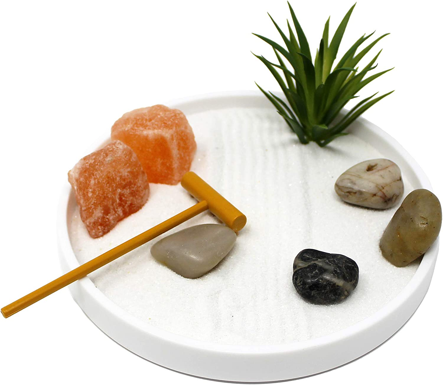 "Nature's Mark, Mini Meditation Zen Garden Table Decor Kit, 6 x 6 Inches White Round Base with Salt Rocks, Air Plant, and Natural River Rocks (6"" L x 6"" W)"