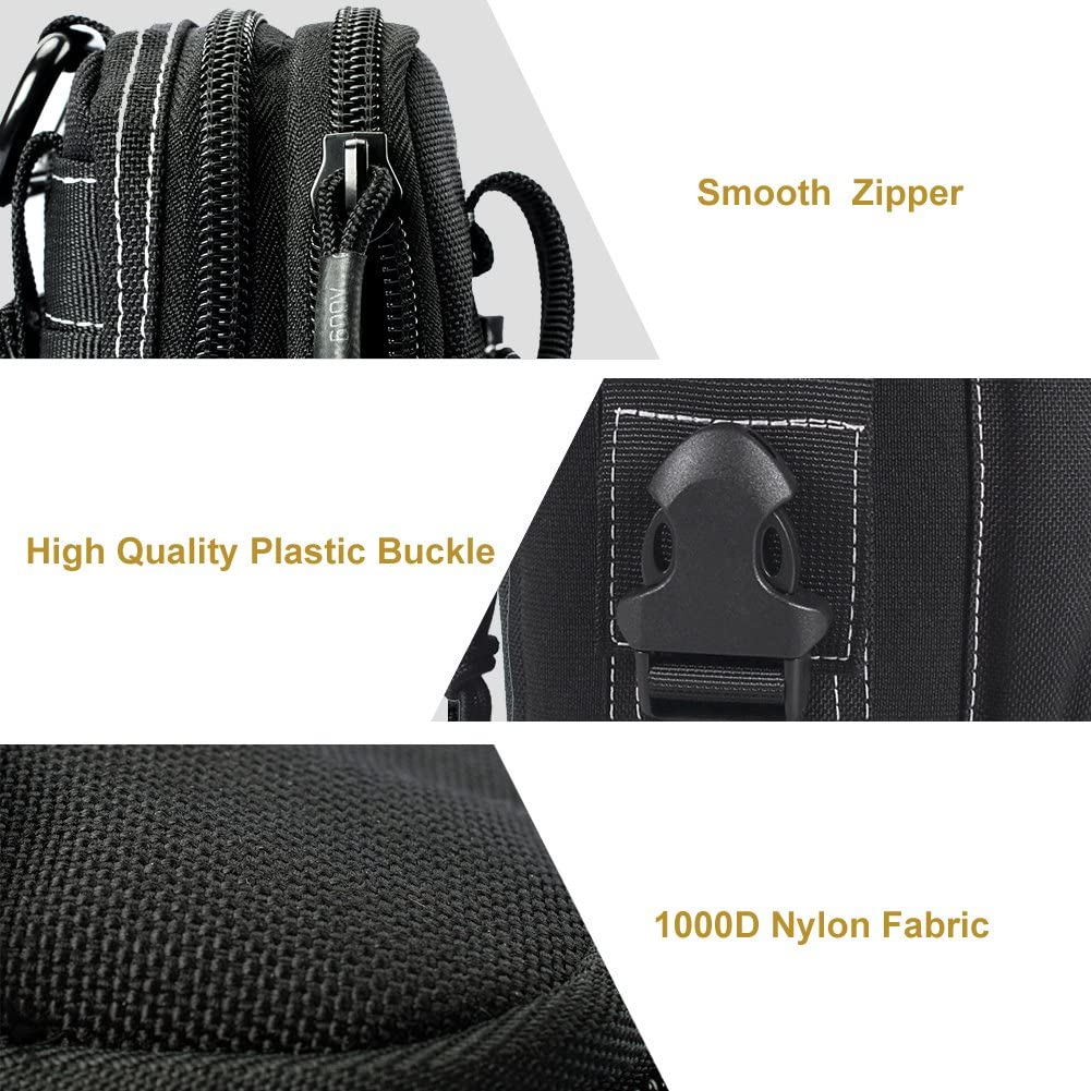 Negro OneTigris Compacto t/áctico Molle EDC Bolsa Utilidad cintur/ón para al Aire Libre Senderismo Camping Bushcraft Uso Diario