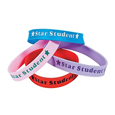 Fun Express Star Student Rubber Bracelets - 24 Pieces - Educational and Learning Activities for Kids: Toys & Games