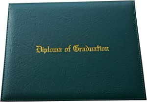 """Certificate Cover Imprinted""""Diploma of Graduation"""" Faux-Leather Diploma Holder 8.5"""" x 11"""" Grad Days (Green)"""