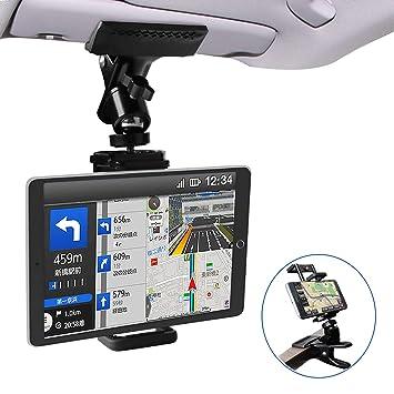 5b6640c854 Zenoplige 車載 ホルダー スマホ タブレット クリップ しっかり固定 携帯 スタンド サンバイザー 後部座席 使用可能