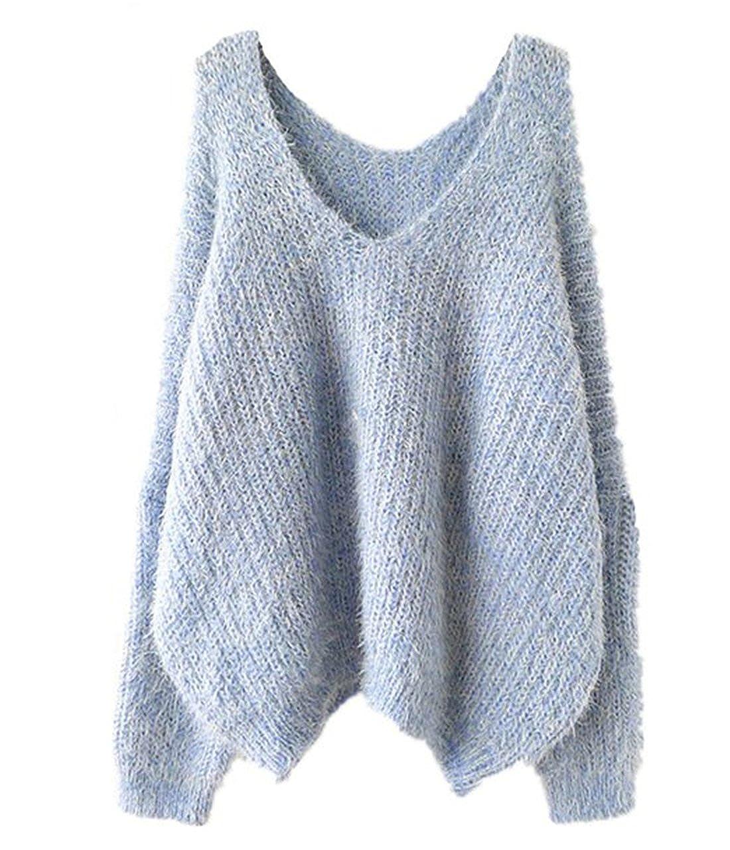 sheinside® Mujer Sudadera übergroßer de Mohair con cuello en V, color azul marino/azul azul: Amazon.es: Ropa y accesorios
