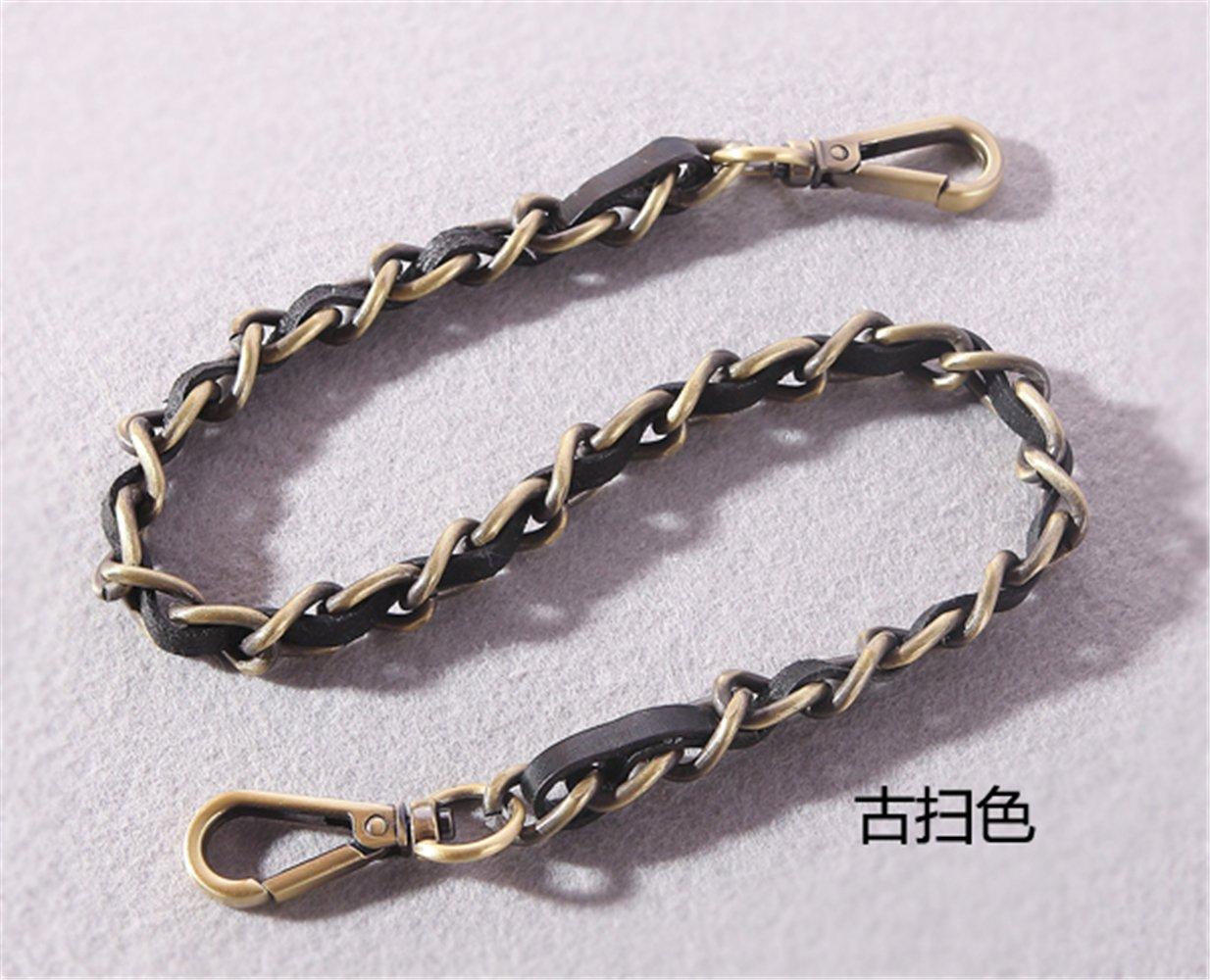 12mm Width PU Leather + Metal Chain For messenger bags Replacement Purse Strap / bag strap / handbag straps / shoulder strap DIY (Bronzed, 31 inch)