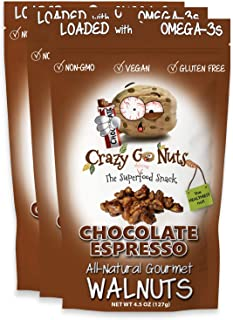 product image for Crazy Go Nuts Walnuts - Chocolate Espresso, 4.5 oz (3-Pack) - Healthy Snacks, Vegan, Gluten Free, Superfood - Natural, Non-GMO, ALA, Omega 3 Fatty Acids, Good Fats, and Antioxidants