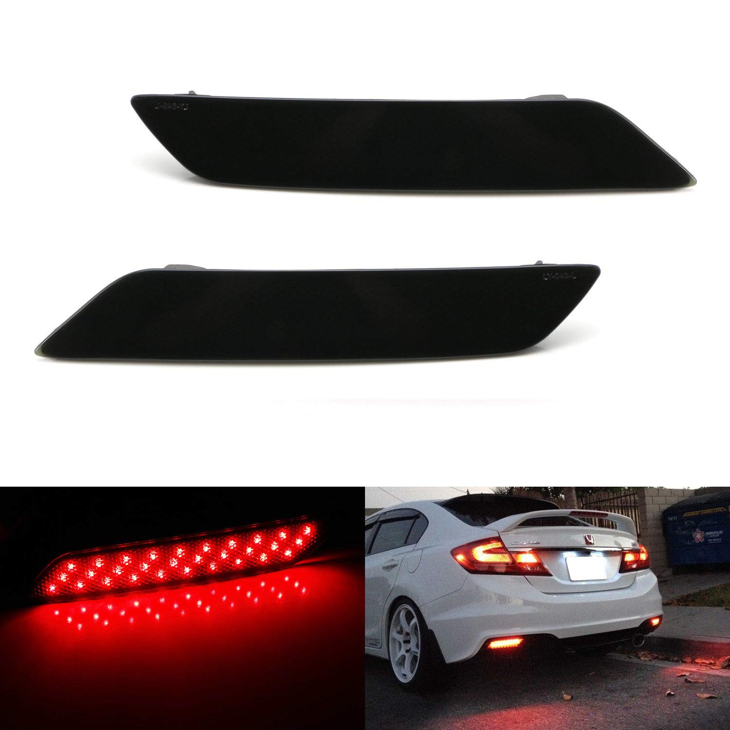 iJDMTOY Smoked Lens 60-SMD LED Bumper Reflector Lights For 13-15 Honda Civic Sedan, Function as Tail, Brake & Rear Fog Lamps