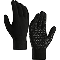Knit Gloves Winter Touch Screen Gloves Running Gloves Fleece Lined Texting Gloves for Teen, Men Women (Small/Medium Hands)