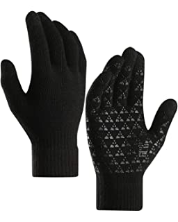 7be3747310 coskefy Knit Gloves Winter Touch Screen Gloves Running Gloves Fleece Lined  Texting Gloves for Teen,