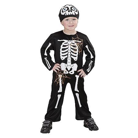 WIDMANN 4994K - Costume da scheletro Bambino, tuta e copricapo assortiti, 98/104 cm