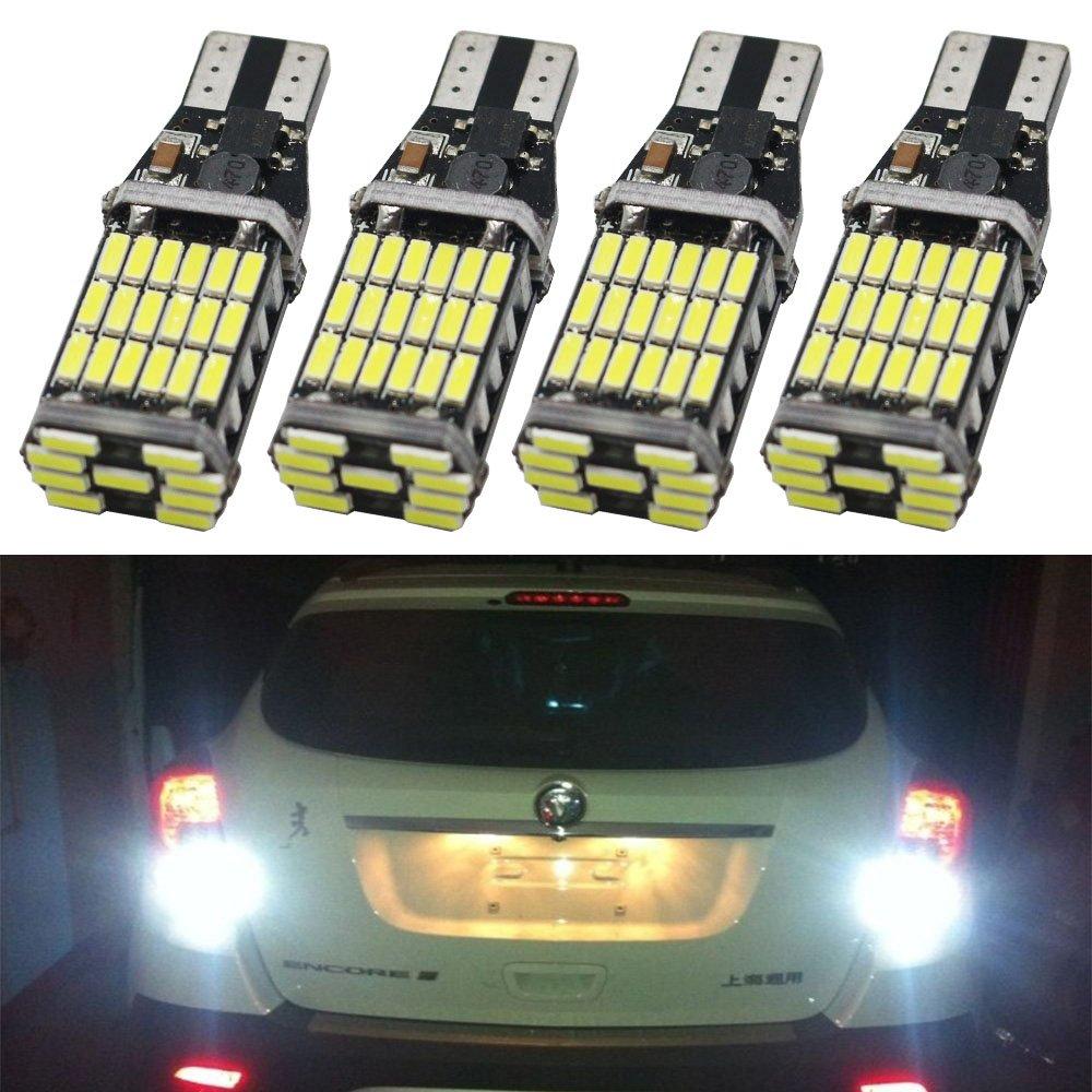 ( Pack of 4 ) 921 912 T10 T15 Xenon White 1100 lumens 12V-24V Extremely Bright Non-Polarity Canbus Error Free AK-4014 45pcs Chipsets LED Bulbs For Backup Reverse Parking Lights 6000K Amazenar(TM) 921 912 T10 T15 ( 12V-24V )