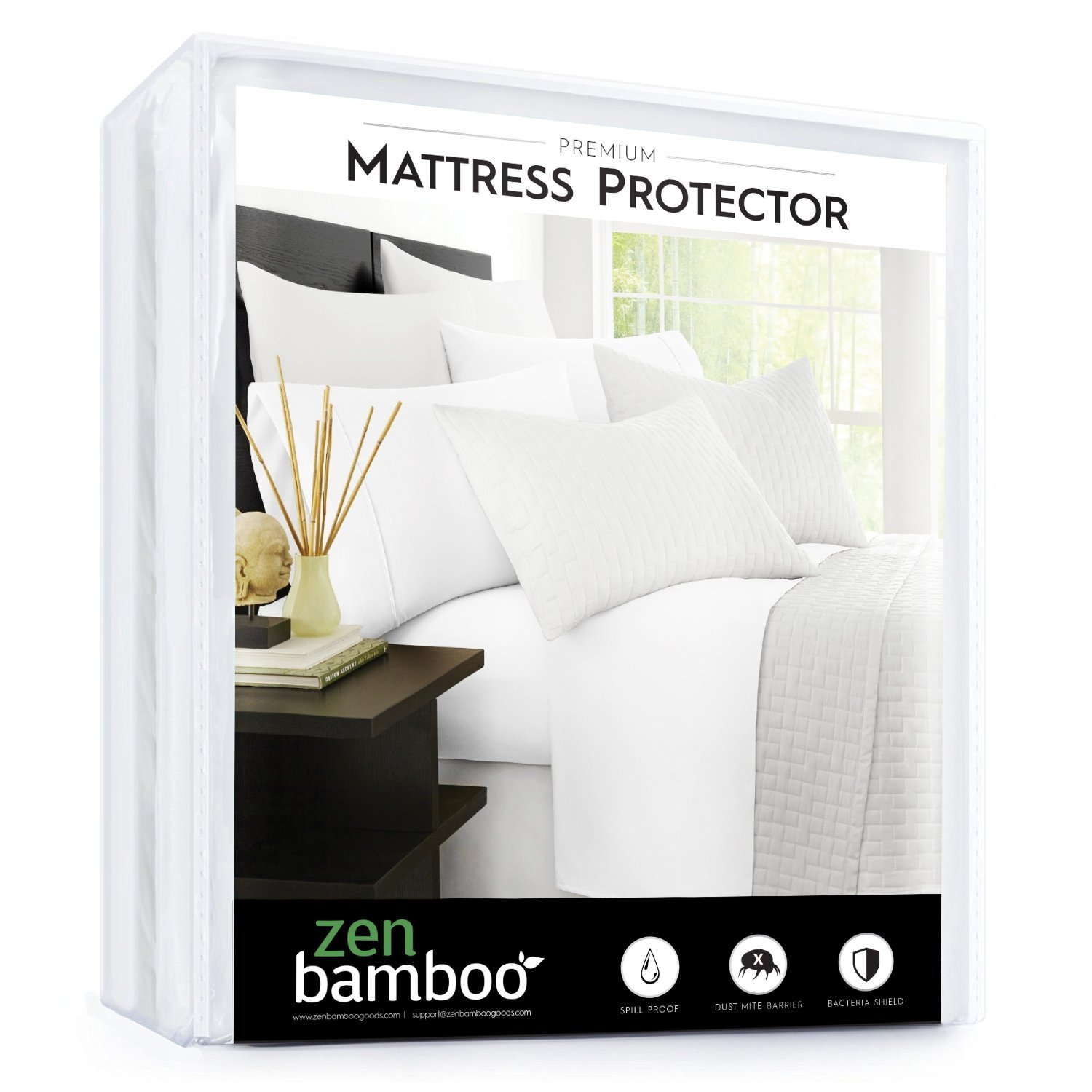Zen Bamboo Mattress Protector - Best Lab Tested Premium Waterproof, Hypoallergenic, Cool and Breathable Bamboo Derived From Rayon Mattress Protector and Cover - Twin RG-ZB-BMBMTRSPRO-T-R