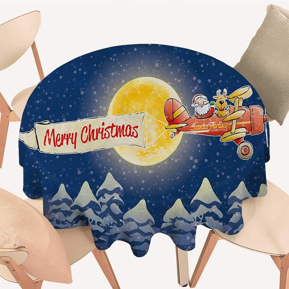 longbuyer クリスマス円形テーブルカバー 素朴な木製プランク 季節アイテム 新年のお祝い レッドウッド グリーン レッド D 70