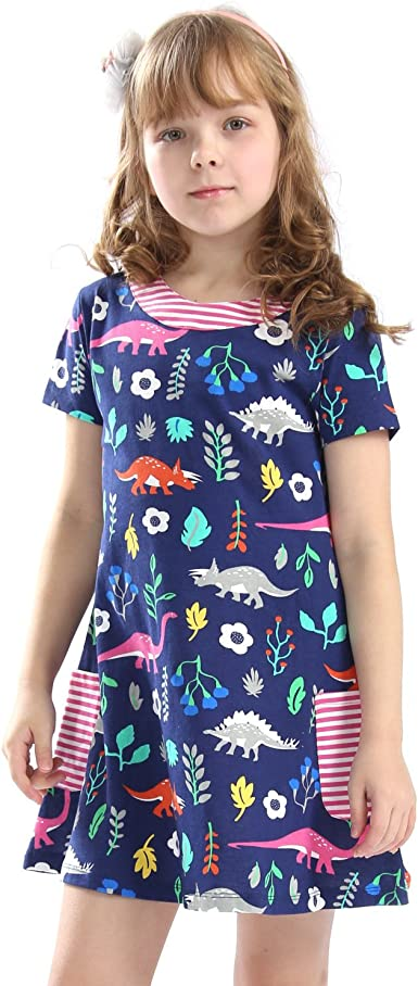 Little Girls Cotton Casual Cartoon Print Short Sleeve Skirt Dresses