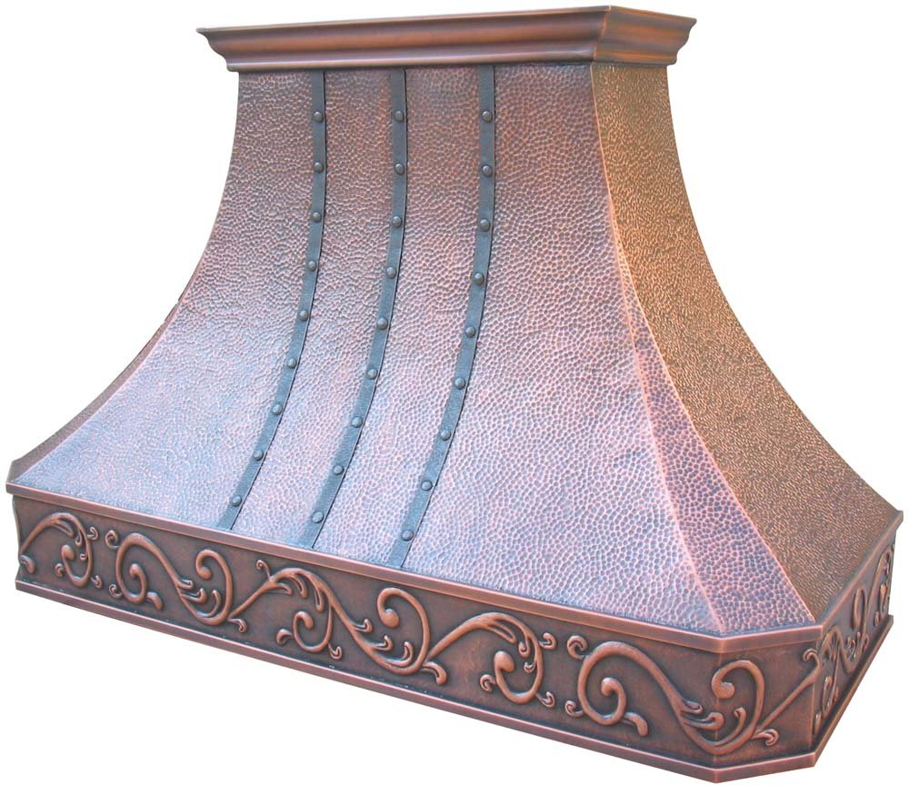 Copper Range Hood Over Kitchen Stove Comes with Powerful Motor Fan Baffle Filter Island W48 x H27 Sinda H3BATR