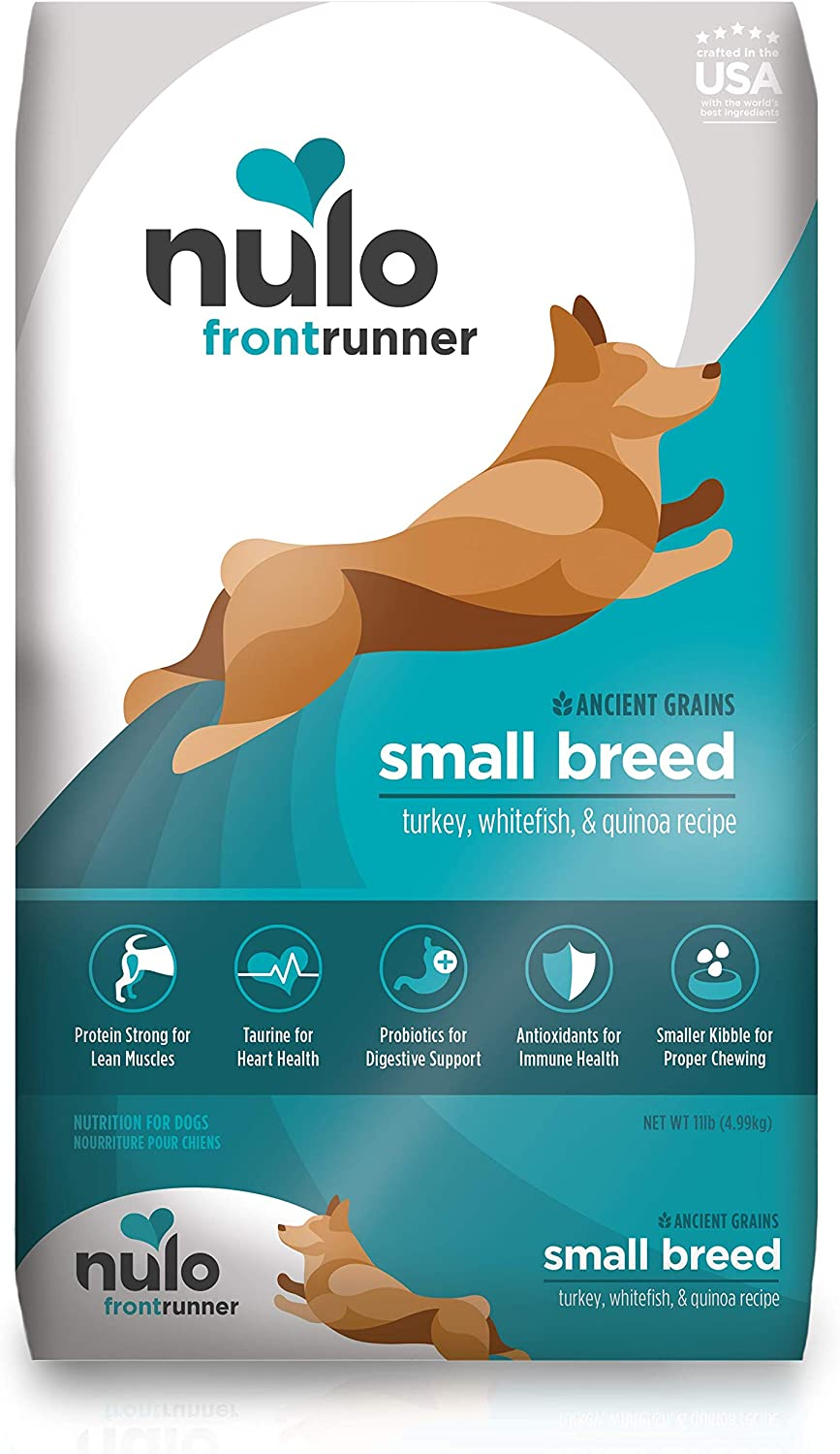 Nulo Frontrunner Small Breed Dog Food with Turkey, Whitefish & Quinoa, 11 lbs - Pet Food with Antioxidants and Probiotics for Digestive and Immune Health - Premium Dry Dog Food for Small Dogs