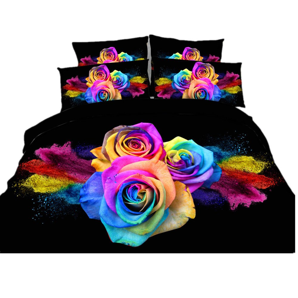 ENJOHOS 3D Colorful Rose Bedding Cotton Black Bed Set Floral Duvet Cover Set 4 Pieces, Including Duvet Cover, Flat Sheet, 2 Pillow Cases (Queen)