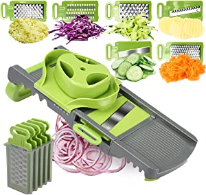 FAVIA Vegetable Slicer for Wavy Potato Crinkle Carrot Shredder Onion Ring Slicer Cheese Grater Julienne Slicer with 6 blades BPA Free Dishwasher Safe