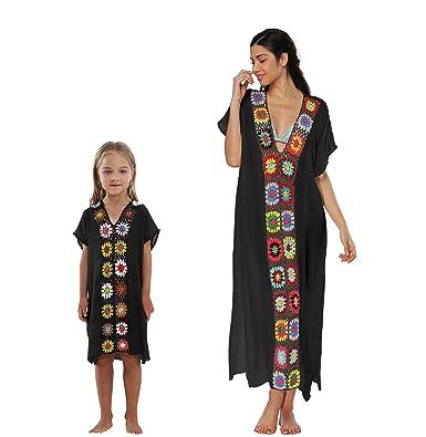 ffb819868ed37 Qunlei Mommy and Me Bikini Swimwear Swimsuit Cover up Maxi Dress V-Neck for  Women