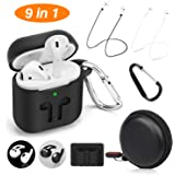 Cuauco 2020 Newest Airpods Case for Airpods 2 and 1 (Front LED Visible) with 2 Anti-Lost Strap/2 Pairs of Ear Hooks/2 Carabiner/1 Watch Band Holder/1 Headphone Case for Apple Airpods(9 Pack)(Black)